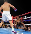 Willie Monroe, Jr., right, is knocked down by Gennady Golovkin, of Kazakhstan, during the second round of a boxing bout, Saturday, May 16, 2015, in Inglewood, Calif. (AP Photo/Mark J. Terrill)