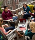 Students chat on the terrace of the Gutman Library on the Harvard Graduate School of Education (HGSE) campus in Massachusetts, in the U.S. (Courtesy of HGSE)