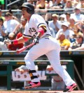 Pittsburgh Pirates' Jung Ho Kang watches the flight of the ball after hitting a solo home run off St. Louis Cardinals starting pitcher Tyler Lyons in the first inning of a baseball game, Sunday, May 10, 2015, in Pittsburgh. (AP Photo/Keith Srakocic)