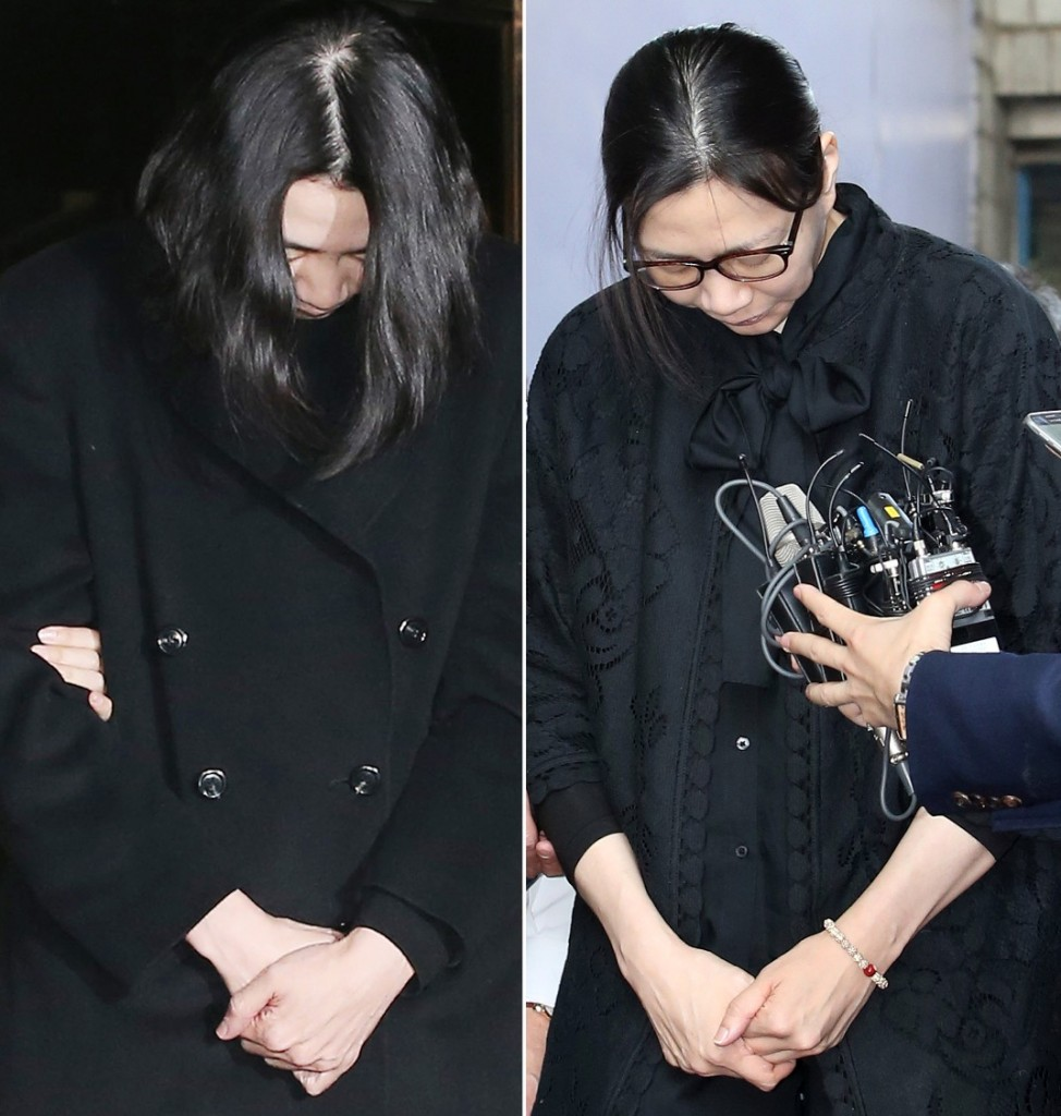 Cho Hyun-ah, a former vice president of Korean Air Lines, had been in custody since her December arrest (left). She was freed after 143 days on May 22, 2015. (Yonhap)