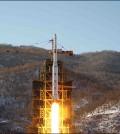 North Korea's Unha-3 rocket lifts off from the Sohae launch pad in Tongchang-ri, North Korea. (KCNA/Yonhap)