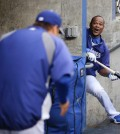 Ryu Hyun-jin and Juan Uribe of the Los Angeles Dodgers (AP Photo/Gene J. Puskar)