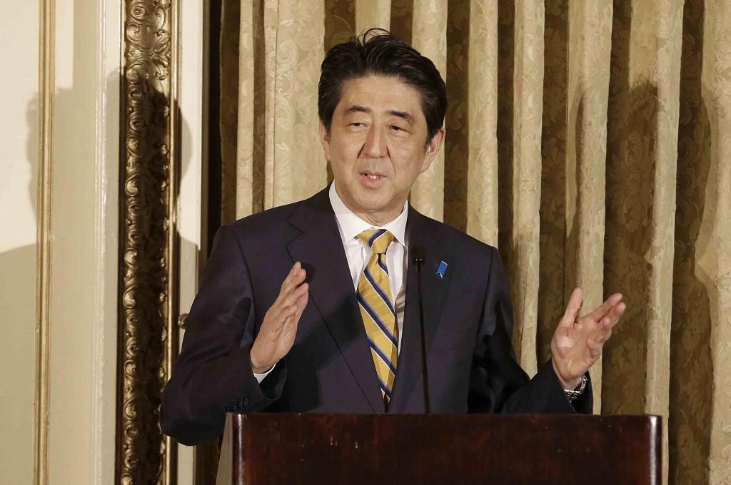 Japanese Prime Minister Shinzo Abe speaks at the Fairmont Hotel in San Francisco, Thursday, April 30, 2015. (AP Photo/Jeff Chiu, Pool)