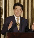 Japanese Prime Minister Shinzo Abe speaks at the Fairmont Hotel in San Francisco, Thursday, April 30, 2015. (AP Photo/Jeff Chiu, Pool)