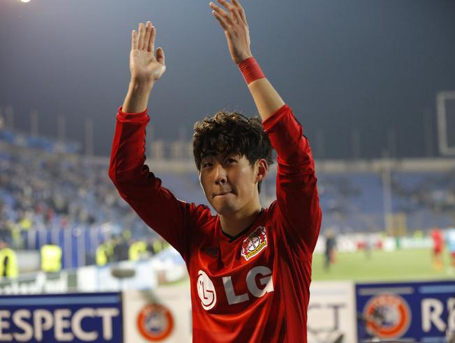 Leverkusen's Son Heung-min (AP Photo/Dmitry Lovetsky)