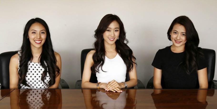 From Left -- Shin Eun-ae, Angel Jung and Lena Ahn. (Korea Times)