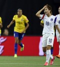 South Korea's Ji So-yun (10) reacts as Brazil scored a goal during the first half of a FIFA Women's World Cup Group E match in Montreal, Canada, on June 9, 2015. Brazil beat South Korea 2-0. (Yonhap)