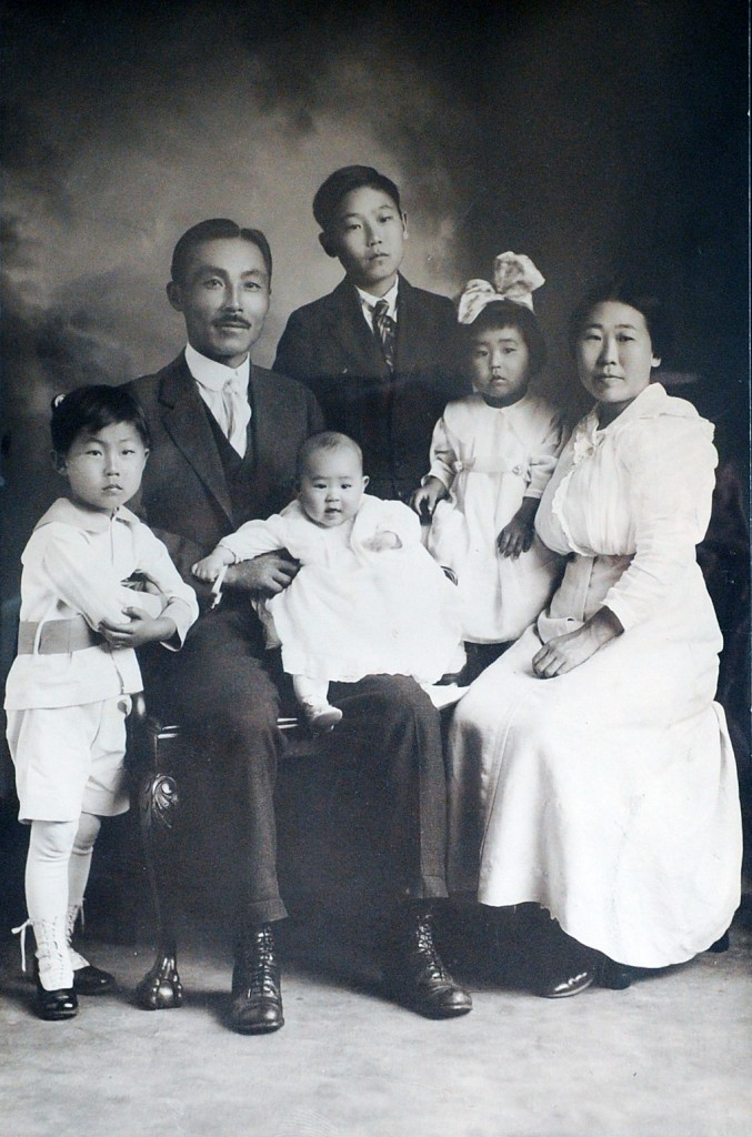 The Ahn family, with Dosan Ahn Chang-ho, second from left, and Susan Ahn Cuddy, second from right