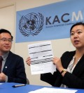 Samantha Lee from KAC explains about KACMUN program for the summer. (Park Sang-hyuk / The Korea Times)