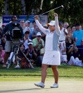 Park Inbee, of South Korea, celebrates after winning the KPMG Women's PGA golf championship at Westchester Country Club in Harrison, N.Y., Sunday, June 14, 2015. (AP Photo/Julio Cortez)