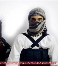 "FILE - This file image taken from a militant website associated with Islamic State extremists, posted Saturday, May 23, 2015, purports to show a suicide bomber, with the Arabic bar below reading: ""Urgent: The heroic martyr Abu Amer al-Najdi, the attacker of the (Shiite) temple in Qatif"", which the Islamic State group's radio station claimed responsibility for. Al-Bayan, the Islamic State radio targeting potential European recruits, touts recent triumphs in the campaign to carve out a Caliphate with contrast between the smooth, Western-style production and the extremist content showing how far the hardcore Islamic propaganda machine has come since its beginnings in 2012. (Militant photo via AP, FILE)"