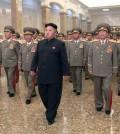 North Korean leader Kim Jong-un, center, visits the Kumsusan Palace of the Sun. (Yonhap/KCNA)