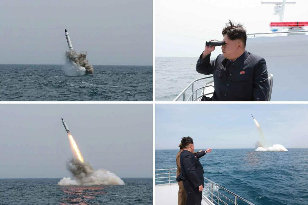 Stills of North Korean submarine missile tests (KCNA/Yonhap)