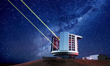 This virtual image shows the expected look of the Giant Magellan Telescope under construction on Las Campanas in Chile. When completed, it will be the world's largest astronomical telescope. (Courtesy of Korea Astronomy & Space Science Institute)