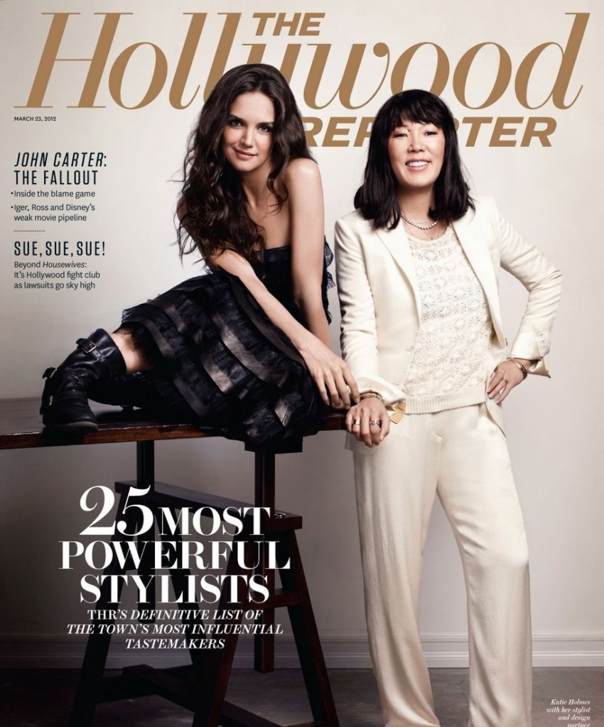 Jeanne Yang, left, with Katie Holmes on a 2012 cover of The Hollywood Reporter (The Hollywood Reporter)