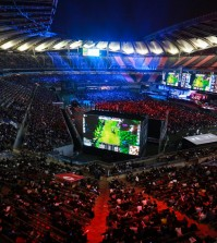 Over 40,000 spectators attend the final match of the fourth League of Legends' World Championship at the Seoul World Cup Stadium on Oct. 19, 2014.  (Courtesy of Riot Games)
