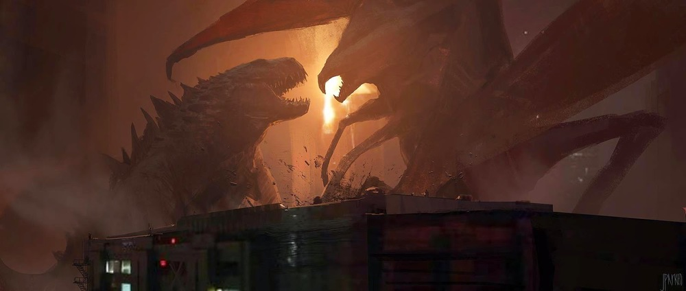 "A key frame illustration by John Park for ""Godzilla"""