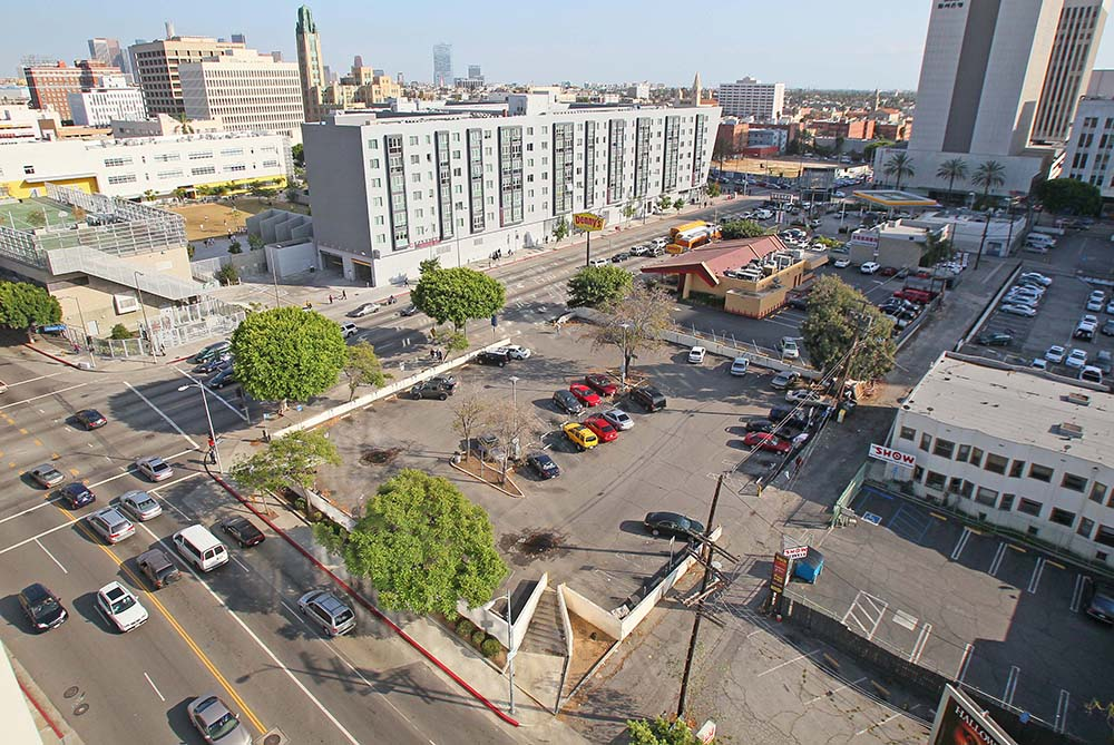 The corner of Vermont Avenue and 6th Street in Koreatown, Los Angeles, where the proposed Korean American National Museum will stand.