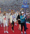 The South Korean Special Olympics team enters the Opening Ceremony inside the Los Angeles Memorial Coliseum Saturday. (Yonhap)