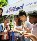 Students try hoddeok at the LTE K-Fastival in Bruin Plaza at UCLA Friday. (Park Sang-hyuk/Korea Times)