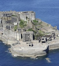 This undated file photo shows Hashima Island off Nagasaki, southwestern Japan. It is one of the seven early industrial facilities out of its 23 for which Japan won world heritage status at a meeting of the UNESCO World Heritage Committee in the German city of Bonn. (Yonhap)