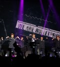 "BTS performs ""The Red Bullet III"" inside Club Nokia in Los Angeles Sunday. (Angelina Widener/Korea Times)"