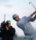 United States' Dustin Johnson tees off from the 7th hole during the second round of the British Open Golf Championship at the Old Course, St. Andrews, Scotland, Friday, July 17, 2015. (AP Photo/Alastair Grant)