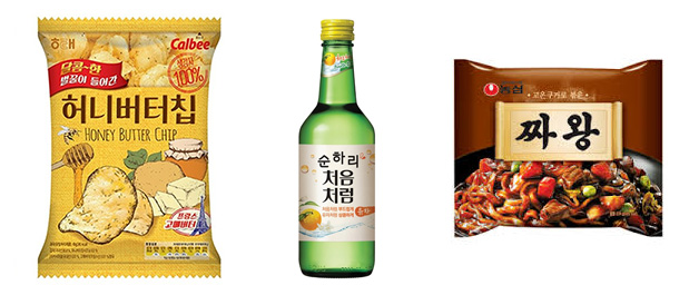 Honey Butter chips, Soonhari soju, Jjawang