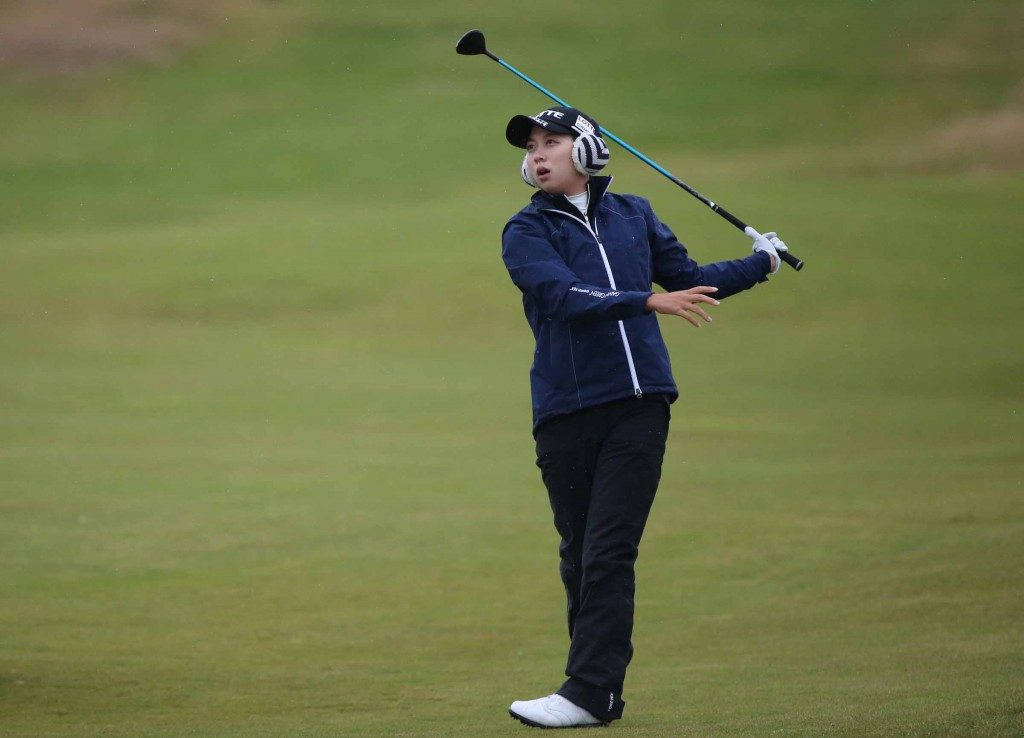 Hyo Joo Kim of South Korea plays her second shot on the 13th during the second day of the Women's British Open golf championship on the Turnberry golf course in Turnberry, Scotland, Friday, July 31, 2015. (AP Photo/Scott Heppell)