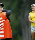 South Koreans Ha Na Jang, right, and Q Baek are first and second, respectively, at the LPGA Marathon Classic heading into the weekend. (AP Photos)