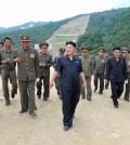 North Korea's leader Kim Jong-un visits the construction site of a ski resort being built on Masik Pass. (KCNA/Yonhap)