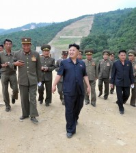 North Korea's leader Kim Jong-un visits the construction site of a ski resort being built on Masik Pass. (KCNA/Yonhap)