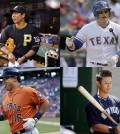 Clockwise from top left, Pittsburgh Pirates infielder Kang Jung-ho, Texas Rangers outfielder Choo Shin-soo, New York Yankees infielder Robert Refsnyder, Houston Astros catcher Hank Conger (AP Photos)
