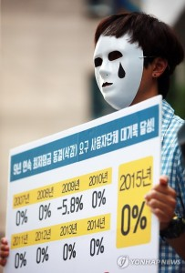 A protester rallies in front of the Korea Employers Federation building in Seoul on June 22, 2015, demanding the federation withdraw its decision to freeze the minimum wage for next year. The minimum wage for this year was set at 5,580 won per hour, a 7.1 percent rise from 2014. (Yonhap)