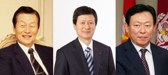 Lotte founder Shin Kyuk-ho (L); Shin Dong-joo (C) and Shin Dong-bin (R) (Yonhap file photo)