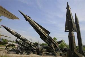 North Korea puts its scud missiles on display. (AP Photo/Lee Jin-man)