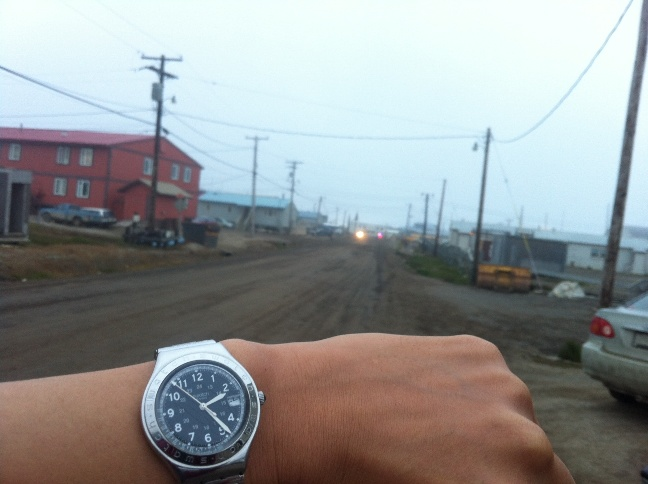 2 a.m. at Barrow, Alaska.  In Barrow, the state's northernmost community, the sun does not set for more than two and a half months—from May 10 until August 2.