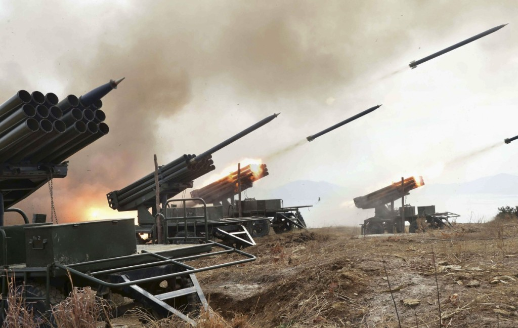 A photo of North Korean artillery exercises released by the Korean Central News Agency (KCNA) on Feb. 21, 2015. (KCNA/Yonhap)