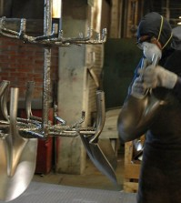 Pedro Reyes finished molding recycled gun parts into shovels. (Courtesy of Pedro Reyes via Creative Commons License)