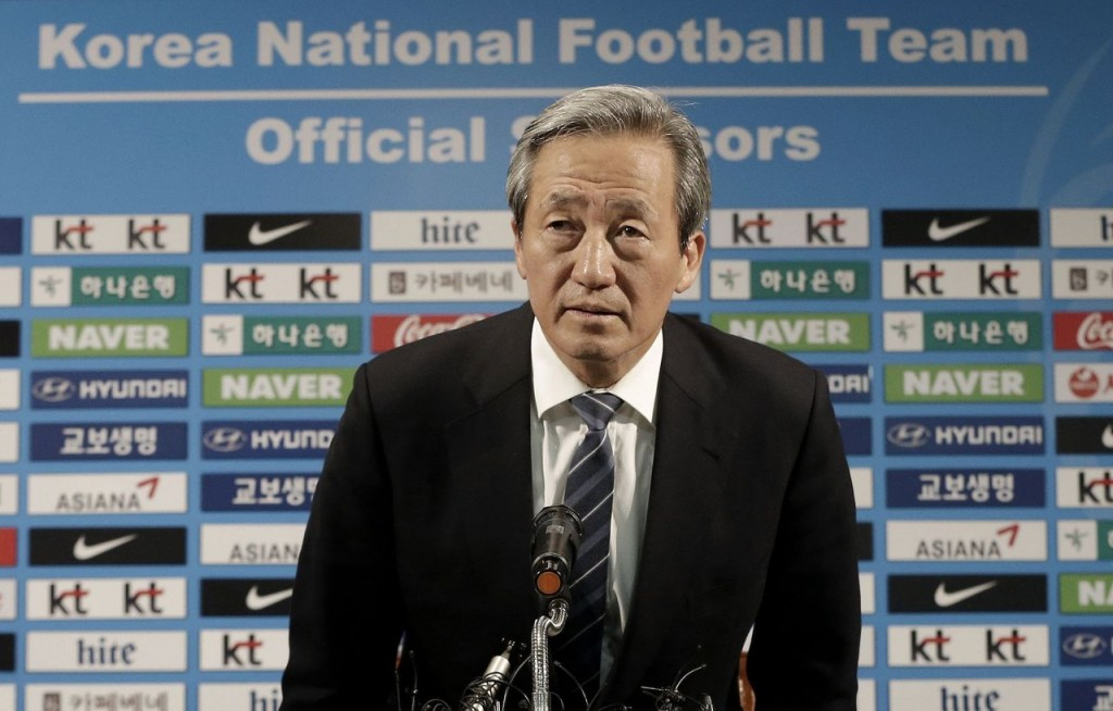 In this Wednesday, June 3, 2015, former FIFA Vice President Chung Mong-joon arrives to hold a press conference in Seoul, South Korea. Chung said Tuesday, July 21 he is leaning toward running for president of football's governing body at the Feb. 26 election to replace Sepp Blatter. (AP Photo/Ahn Young-joon, File)