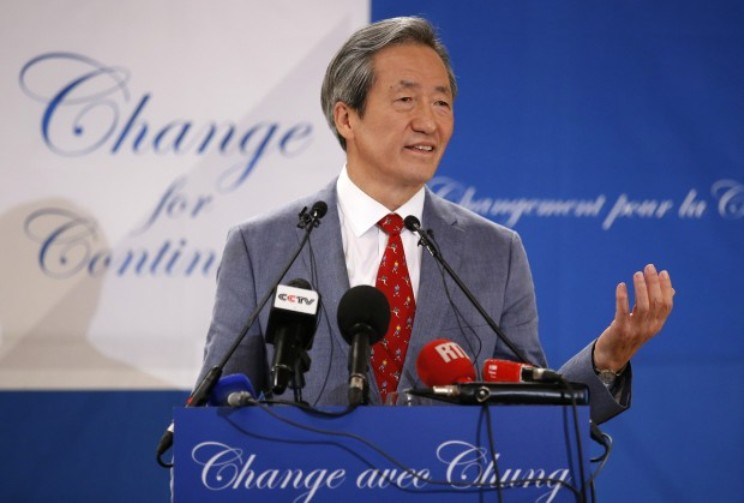 South Korea's Chung Mong-Joon gestures during a press conference in Paris, France, Monday Aug.17, 2015. Chung Mong-Joon announced his candidacy for the upcoming FIFA presidential elections. (AP Photo/Francois Mori)