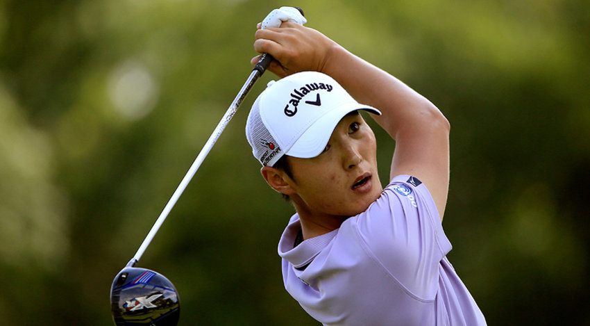 Danny Lee, of New Zealand, watches his tee shot on the second hole during the third round of the Bridgestone Invitational golf tournament in Akron, Ohio, Saturday, Aug. 8, 2015. (AP Photo/Phil Long)