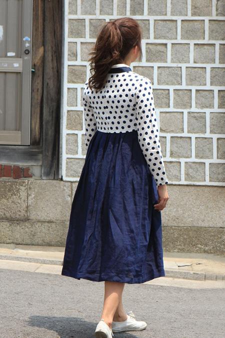 "Modernized hanbok with a shorter skirt and polka dot ""jeogori (jacket)"" (Courtesy of Today Hanbok)"