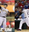 Pittsburgh Pirates infielder Kang Jung-ho, left, and Texas Rangers outfielder Choo Shin-soo (AP Photos)