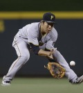 Pittsburgh Pirates infielder Kang Jung-ho fields a groundball during a game.  (AP Photo/John Minchillo)