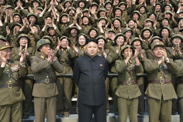 North Korean leader Kim Jong-un receiving applause. (KCNA/Yonhap)