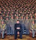 Kim Jong-un poses with North Korean military. (KCNA/Yonhap)