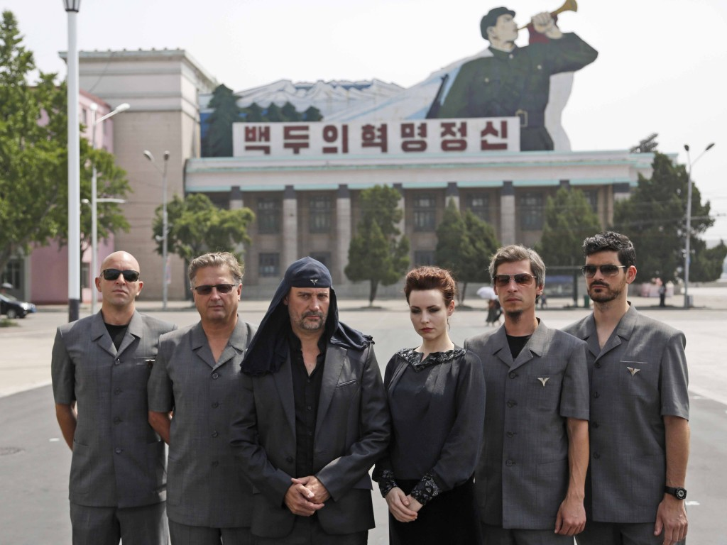 Members of Slovenian rock band Laibach pose during a photo shoot at Kim Il Sung Square prior to their performance in Pyongyang, North Korea, Wednesday, Aug. 19, 2015. It's rare for North Korea to allow modern music from abroad to be performed inside the country. (AP Photo/Dita Alangkara)