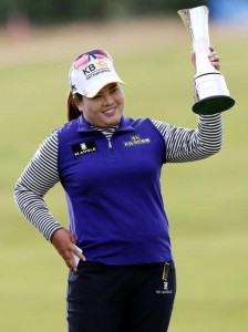 Inbee Park poses with the trophy after winning the Women's British Open on Sunday at the Turnberry course in Turnberry, Scotland. (AP Photo/Scott Heppell)
