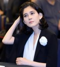 This file photo taken on July 2, 2015 shows Lee Boo-jin, the eldest daughter of Samsung Group owner family and CEO of Hotel Shilla, sitting at a tourism industry event in Seoul. Her husband has refused to go through with their ongoing divorce, his lawyer said on Aug. 6, 2015. (Yonhap)